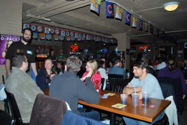 Young adults gather at the Theology on Tap series in South Bend.