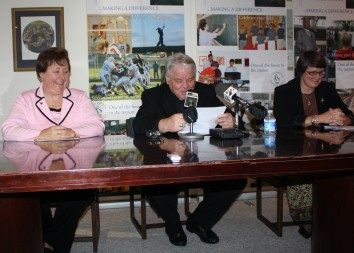 From left, Nancy Hellyer, chief executive officer of Saint Joseph Regional Medical Center, Bishop John M. D'Arcy, and Saint Joseph's High School Principal Susan Richter attend a Nov. 11 press conference about the future of the school, which will possibly relocate to the Saint Joseph Regional Medical Center property or renovate the current building. Bishop D'Arcy related campaign goals to determine the future path for the South Bend school.