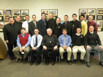 Those in attendance at the Serra Club luncheon are from left, back row, Father Bernard Galic,  director of the Vocations Office; seminarians Jacob Meyer, Brandon McCaffery, Matt Coonan, Royce Gregerson and Ben Muhlenkamp; Deacon Andrew Budzinski; seminarians Terrance Coonan, Matthew Soberalski, Cristian Reyes and Thomas Zehr. Seated are seminarians Joseph Becker and Zachary Barry; Bishop John M. D'Arcy; and seminarians Daniel Davis, Nathan Maskal and Jonathan Norton. Not pictured is seminarian Christopher Sinderlar.
