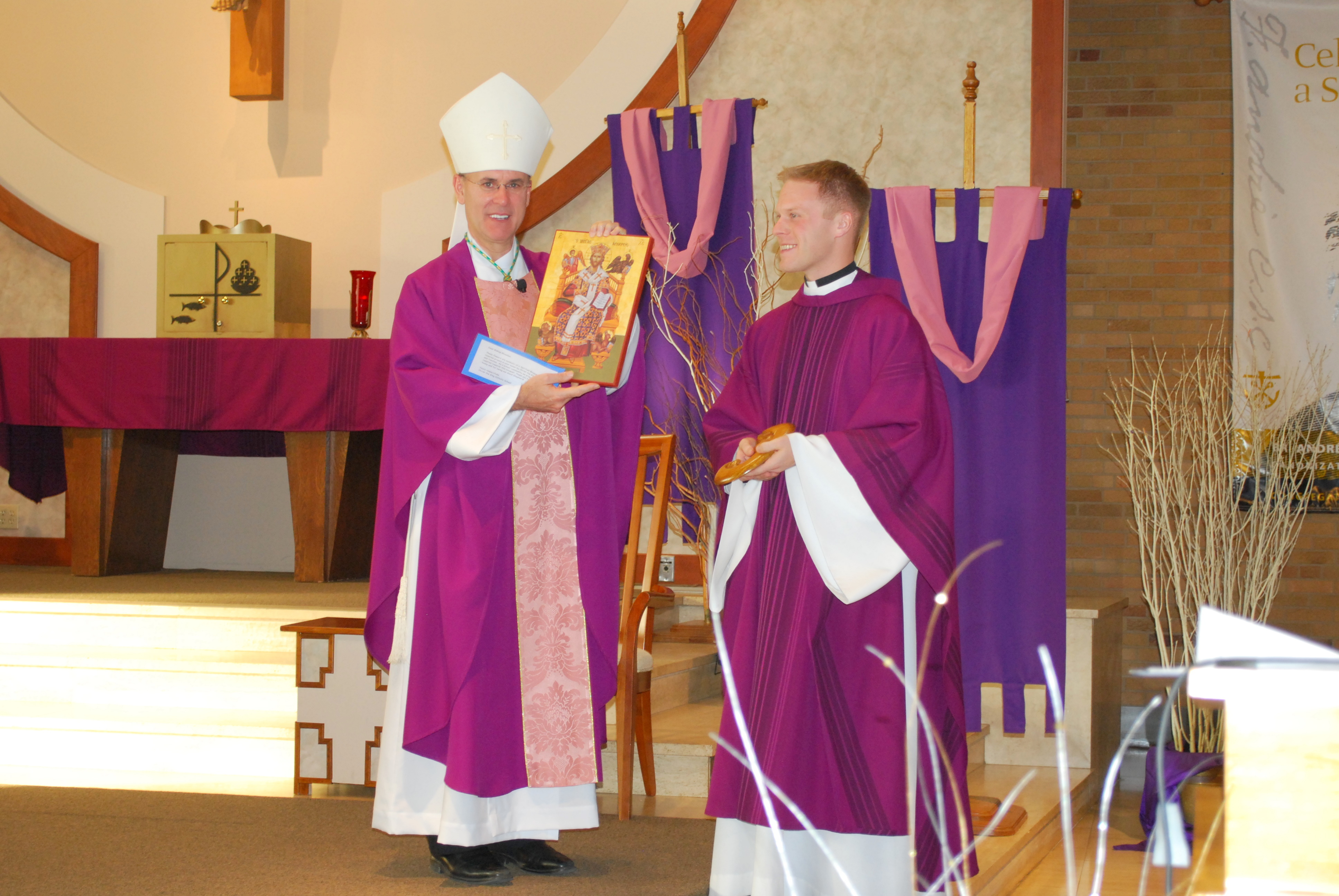 Bishop rhoades makes pastoral visit to christ the king school in addition to the presentation of the spiritual bouquet an icon of christ the king and a sculpture of the blessed mother were given to bishop rhoades by kristyandbryce Image collections