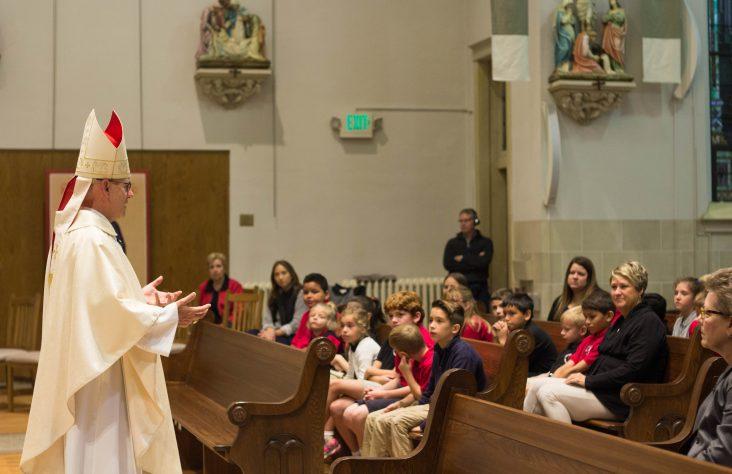 Most Precious Blood School welcomes Bishop Rhoades