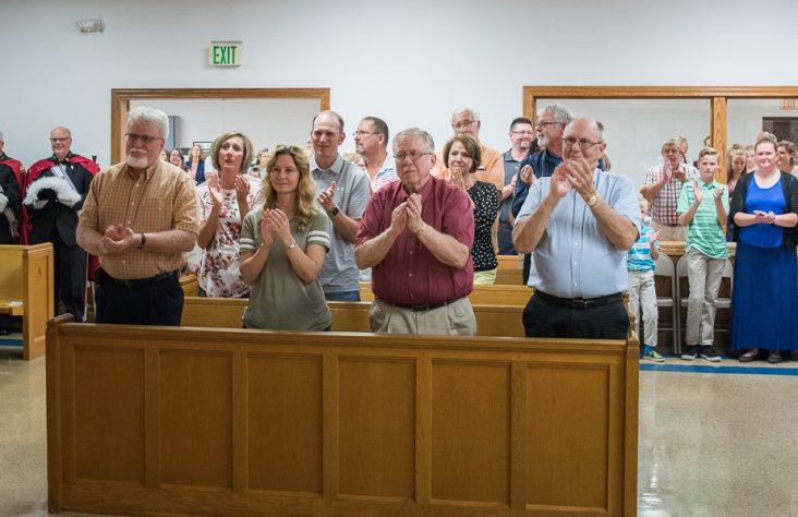 Bishop Rhoades announces a pleasant surprise at Blessed Sacrament Parish