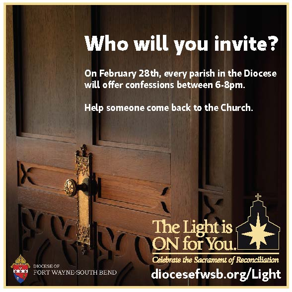 The light is on for you diocesan wide opportunity for confession fort wayne the lord is waiting to embrace those who seek reconciliation with him which is why a special invitation is extended for everyone to take stopboris Gallery