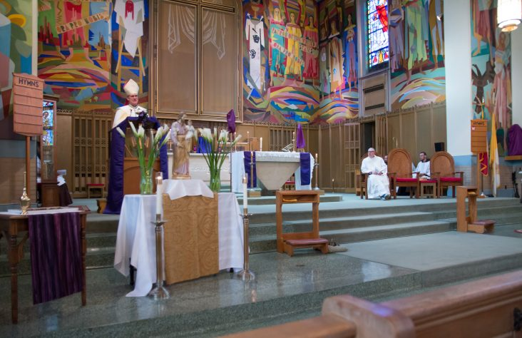 Bishop Rhoades leads vespers service on feast day of St. Joseph