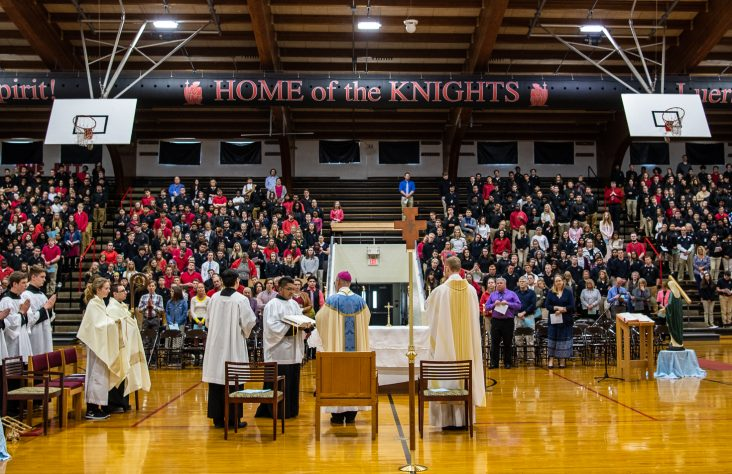 Bishop Rhoades visits Luers on feast of the Annunciation