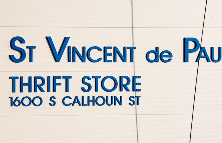 St. Vincent de Paul Thrift Store façade, alcove blessed