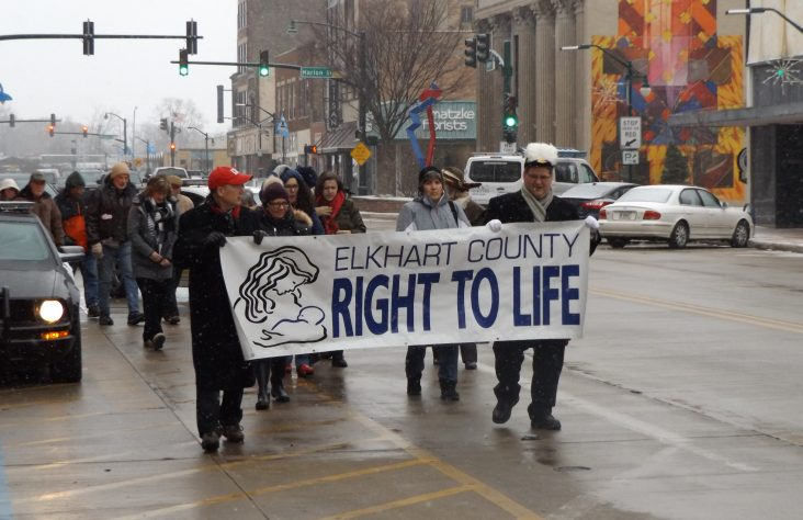 Pro-life supporters march in downtown Elkhart