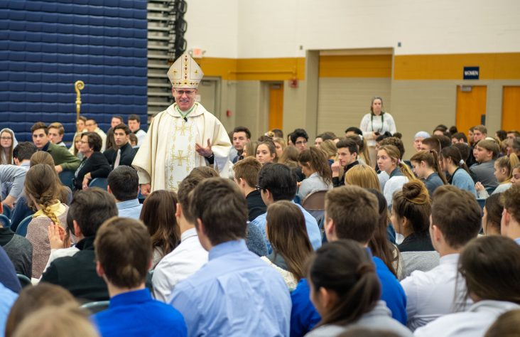 Bishop to students: 'Believe in His love'