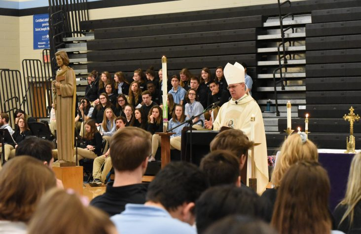 Students baptized by Bishop Rhoades on feast day of St. Joseph