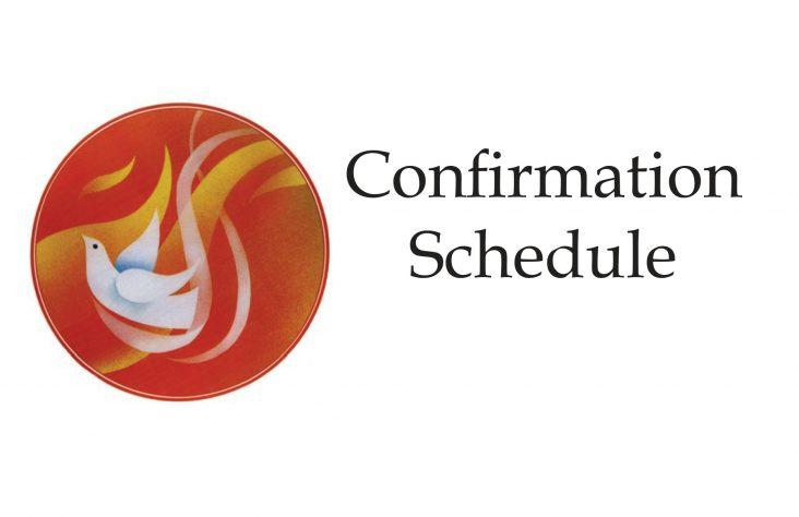 Spring confirmation Mass schedule