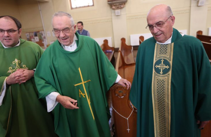 Brother priests mark 60th year of ordination with Mass — and a snowstorm
