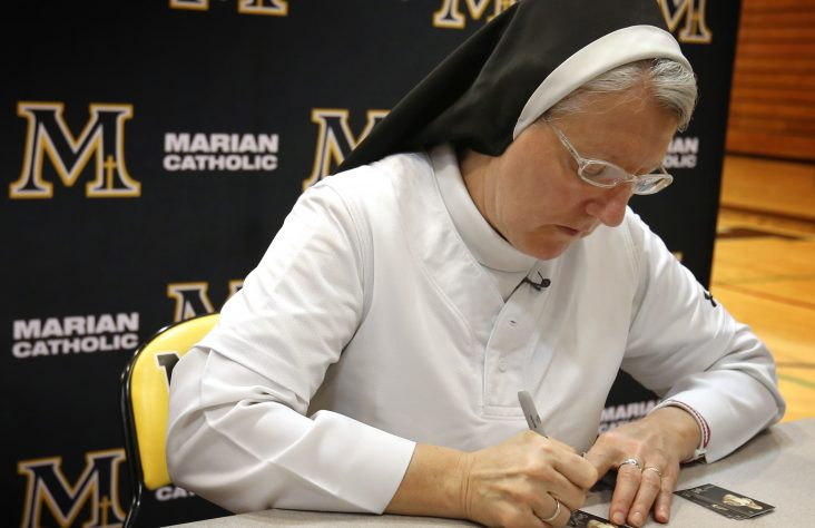It's in the cards for woman religious who threw perfect pitch