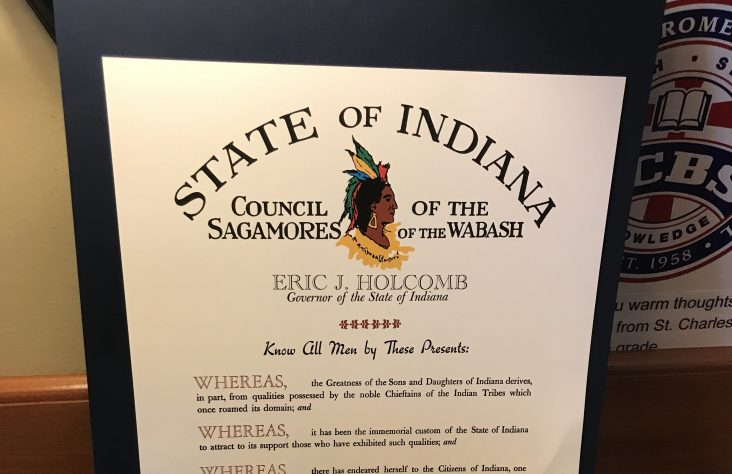 Former Catholic schools superintendent receives Sagamore of the Wabash