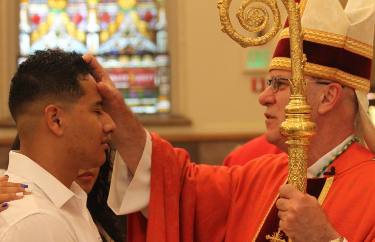 Bishop confirms adults at Pentecost, Trinity Sunday vigil Masses