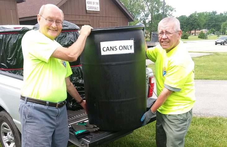 Member builds can crusher for Knights of Columbus service project