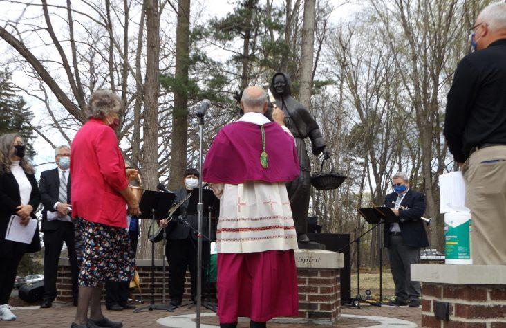 Statue, plaza dedicated to St. Katharina Kasper — 'woman of the beatitudes'
