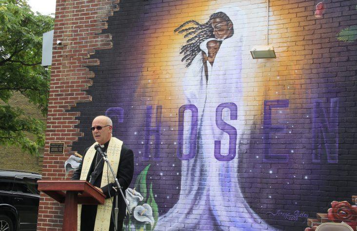 Black Madonna mural dedicated, blessed