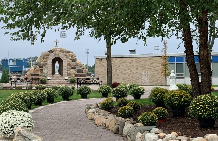 Our Lady of Lourdes Grotto at Marian High School dedicated